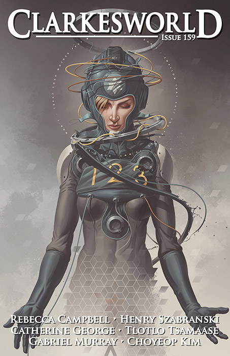Figure of a woman in a spacesuit on the cover of Clarkesworld 159