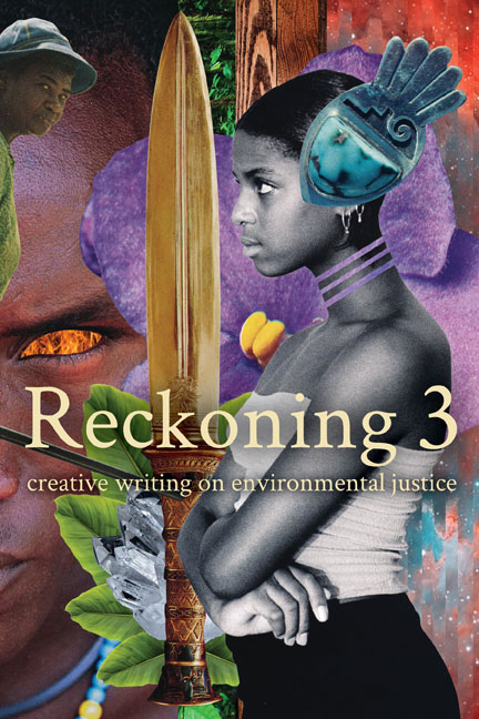 The cover of Reckoning 3, featuring a collage of a young Black girl facing left, with arms crossed, wearing a large ornament in her hair.
