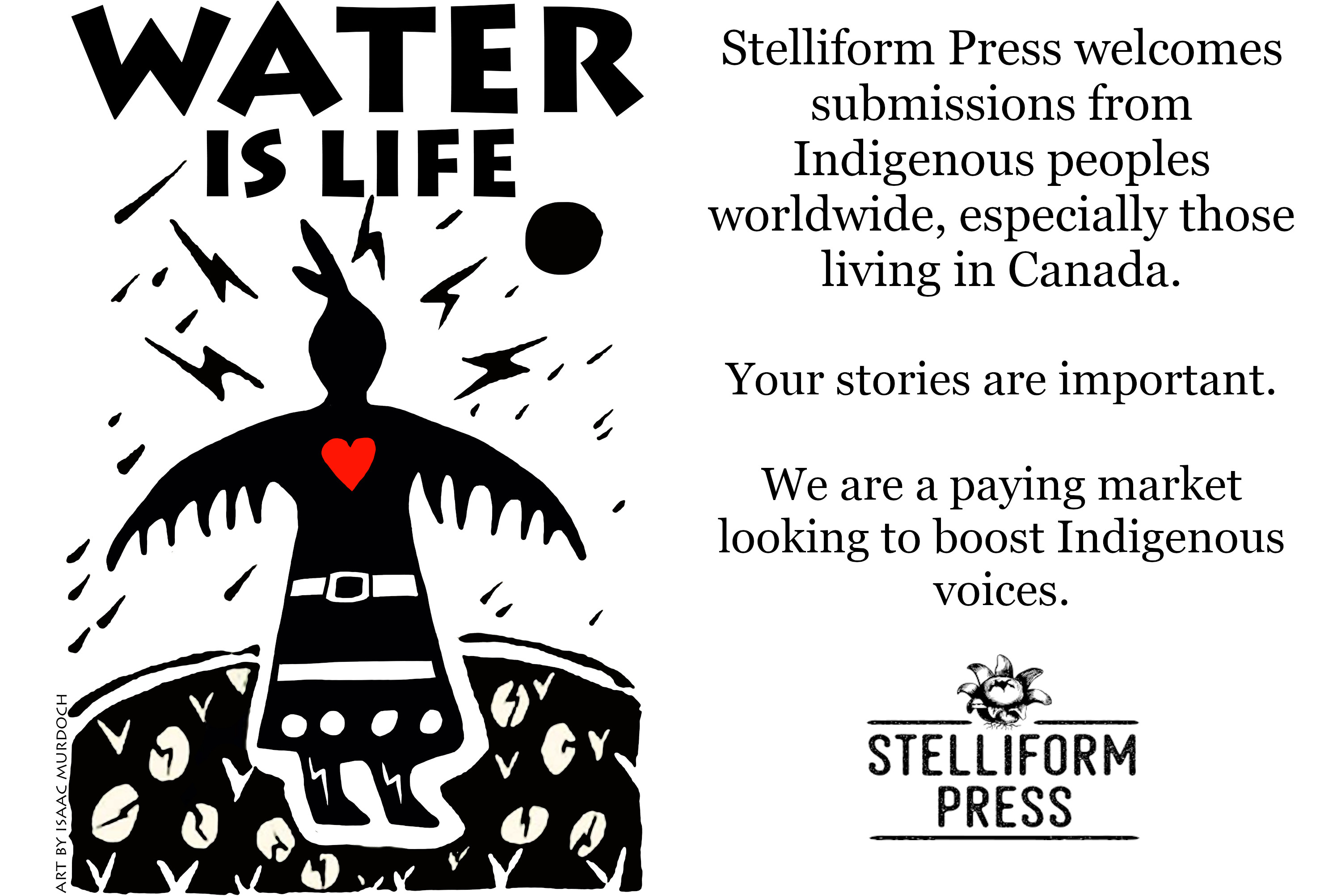 Flyer calling for submissions from Indigenous writers and creators