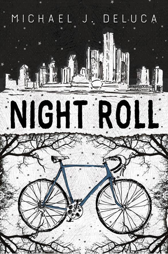 Cover of NIGHT ROLL featuring a drawing of a bicycle surrounded by trees below the Detroit skyline.