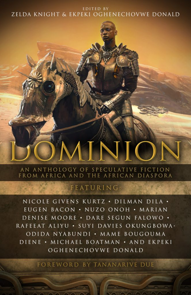 Cover of Dominion anthology, featuring an armoured Black man atop an armoured horse