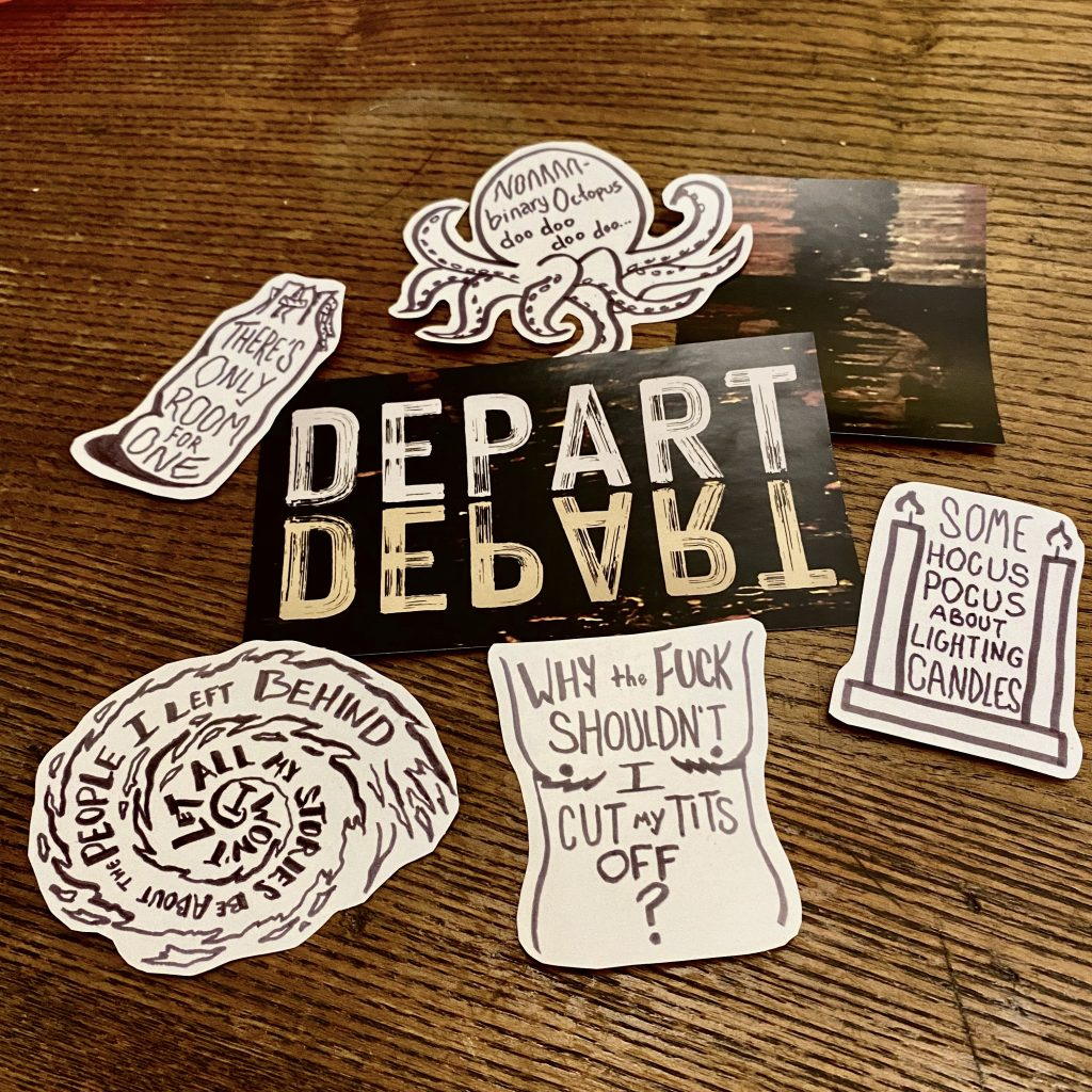 Photo of seven stickers from the Depart, Depart! sticker pack