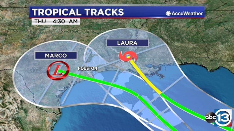 Meteorological map of Tropical Storms Marco and Laura heading toward Houston.