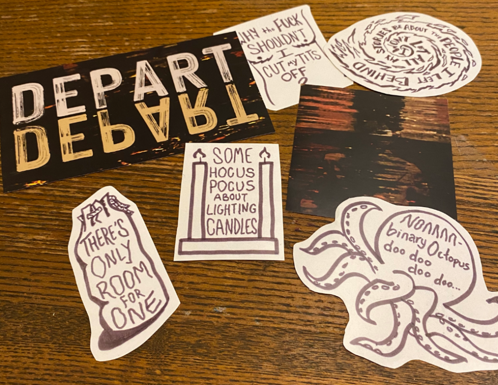 Photo of Sim Kern's DEPART, DEPART! sticker pack