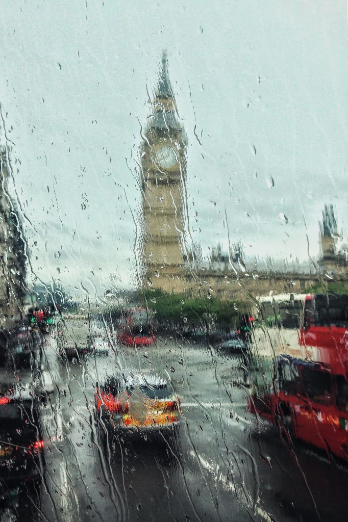 London seen through a raindrop covered window.