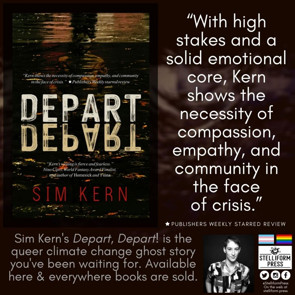 Sim Kern Depart Depart Publishers Weekly review poster