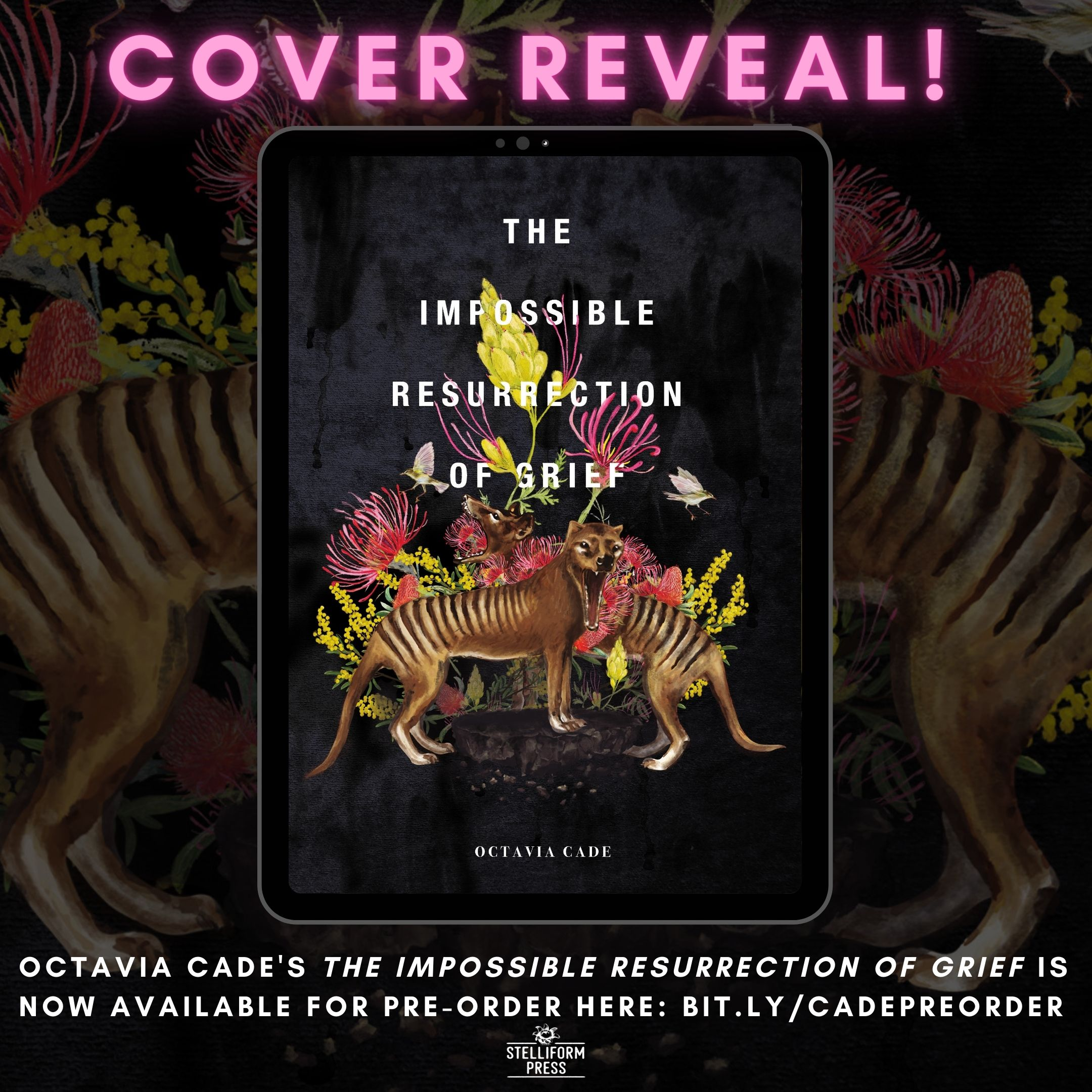 Cover reveal Announcement for Octavia Cade's The Impossible Resurrection of Grief
