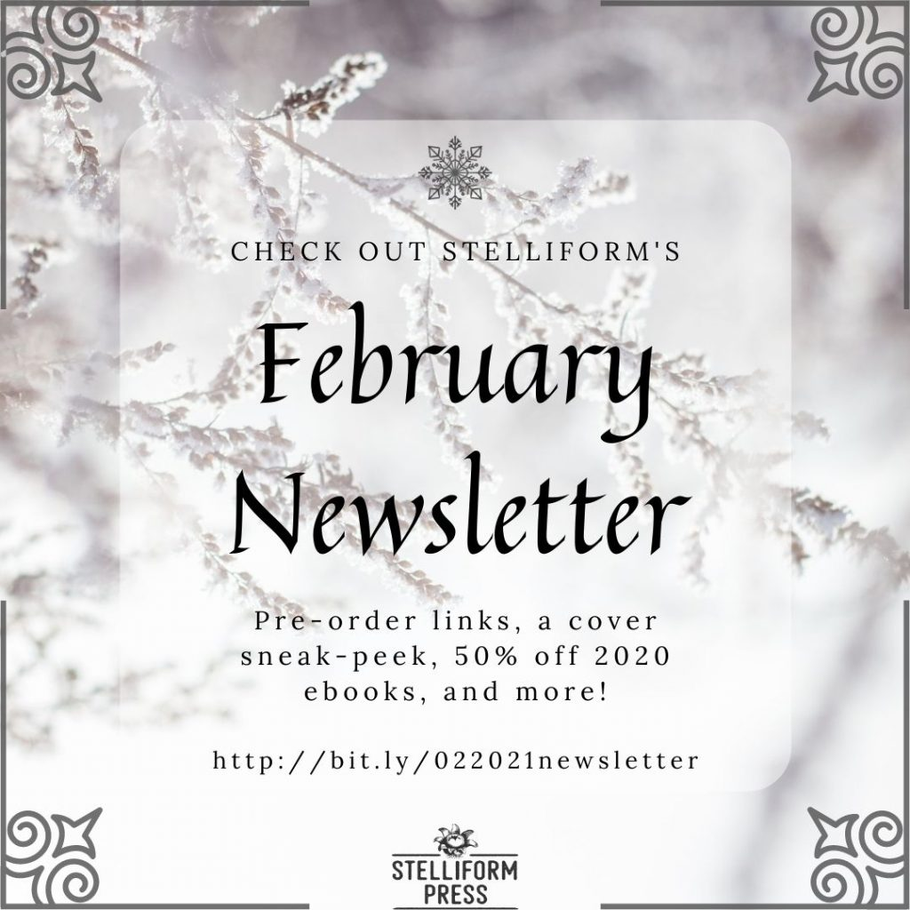 February Newsletter poster graphic, with snowy branches in the background.