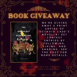 Octavia Cade's The Impossible Resurrection of Grief Book giveaway contest poster