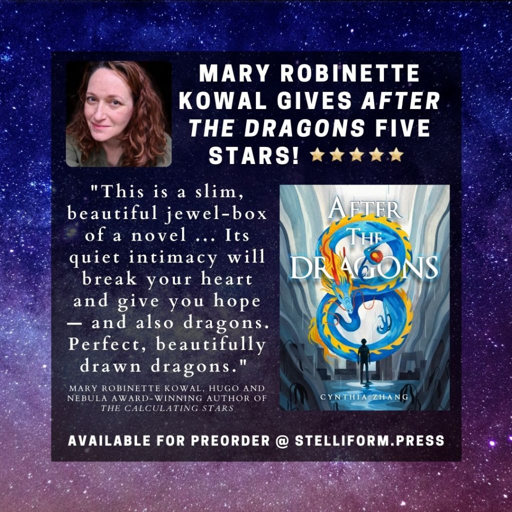 Poster announcing Mary Robinette Kowal's Five Star review of After the Dragons